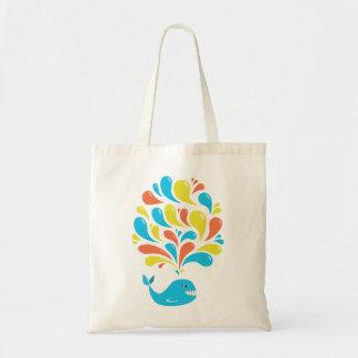 Bright Colorful Splash Happy Cartoon Whale Tote Bag
