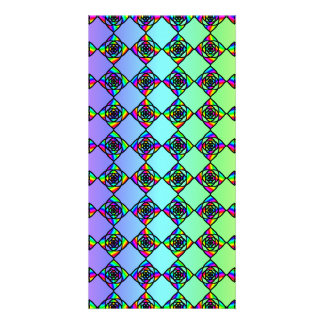 Bright Colorful Stained Glass Style Pattern. Picture Card