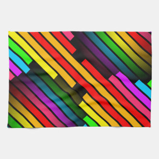 Bright Colorful Stripy Teen Boys Mens 3D Pattern Hand Towel