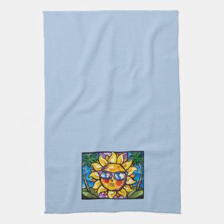 Bright & Colorful Tropical Sun on Lt Blue Tea Towel