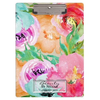 Bright Colorful Watercolor Floral Personalized Clipboard
