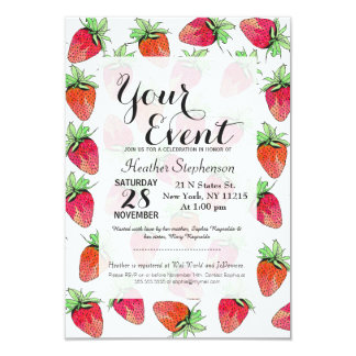 Bright Colorful Watercolor Fruity Strawberries Card