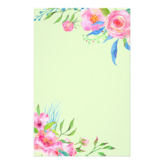 Bright Colorful Watercolor Rose Decor Stationery