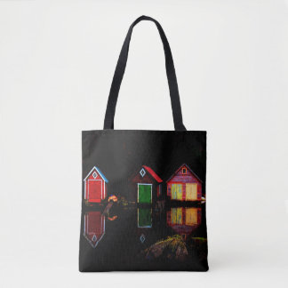 Bright colorful wooden rustic boathouses tote bag