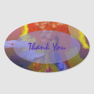 Bright Colors Abstract Oval Sticker