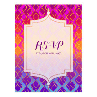 Bright Colors Arabian Moroccan Glam Party RSVP Postcard