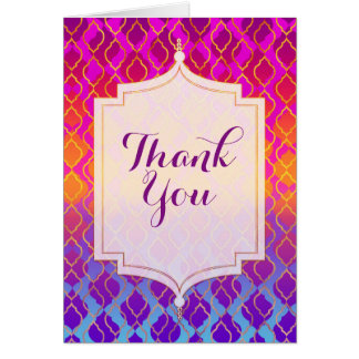 Bright Colors Arabian Moroccan Theme Thank You Card