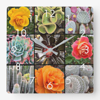 Bright colors cacti & roses floral close-up photo square wall clock
