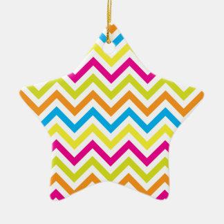 Bright Colors Chevrons Ceramic Star Decoration