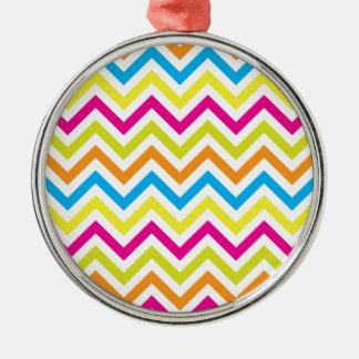 Bright Colors Chevrons Silver-Colored Round Decoration