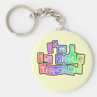 Bright Colors I'm a 1st Grade Teacher Basic Round Button Key Ring