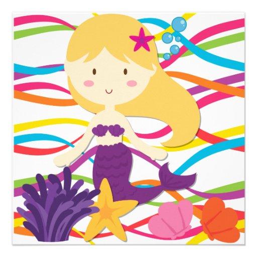 Bright Colors Mermaid Birthday Invitation