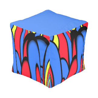 Bright  Colors Solid Red and Solid Blue Sides Pouf