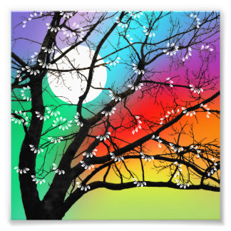 Bright Colors Tree and Moon Art Photo