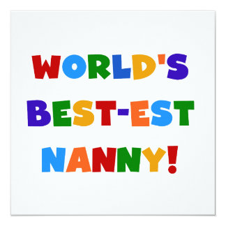 Bright Colors World's Best-est Nanny Gifts Custom Invite