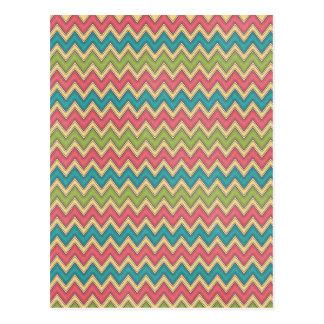 Bright colors Zig Zag Pattern Background Postcard