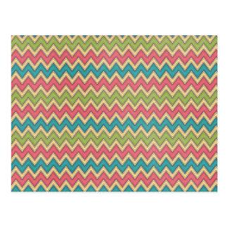 Bright colors Zig Zag Pattern Background Postcards