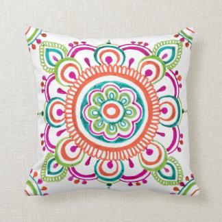Bright colour Mexican lace design pillow