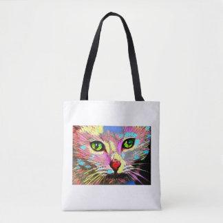 Bright coloured cat tote bag