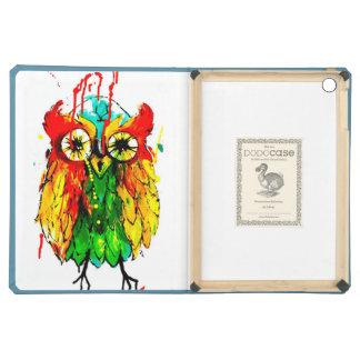 Bright coloured techno owl, tattoo ink iPad air cases