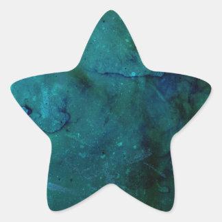 Bright colourful blue green abstract grunge design star sticker