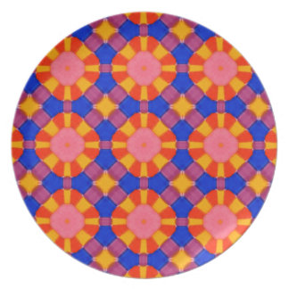 Bright Colourful Marker Original Geometric Artwork Plate