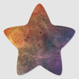 Bright colourful red blue yellow abstract grunge star sticker