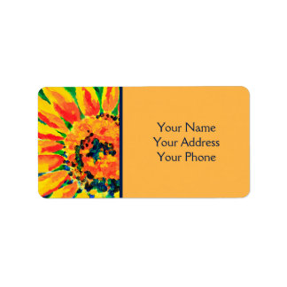 Bright Colourful Single Sunflower Acrylic Painting Address Label