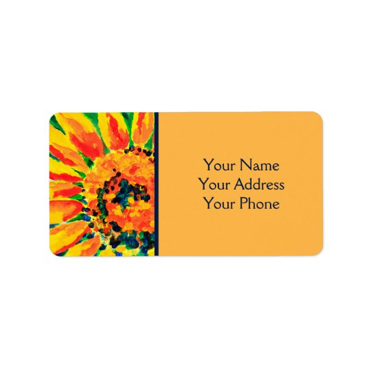 Bright Colourful Single Sunflower Acrylic Painting Label