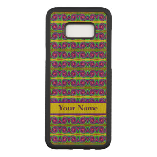 Bright colourful yellow purple curls pattern carved samsung galaxy s8+ case