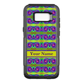 Bright colourful yellow purple curls pattern OtterBox commuter samsung galaxy s8+ case