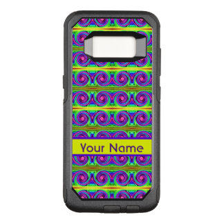 Bright colourful yellow purple curls pattern OtterBox commuter samsung galaxy s8 case