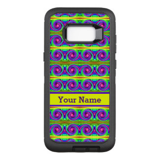Bright colourful yellow purple curls pattern OtterBox defender samsung galaxy s8+ case