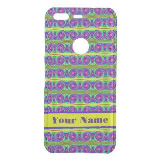 Bright colourful yellow purple curls pattern uncommon google pixel case