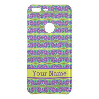 Bright colourful yellow purple curls pattern uncommon google pixel XL case