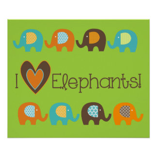 Bright Colours I Love Elephants Nursery Poster