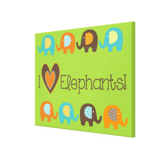 Bright Colours I Love Elephants Wrapped Canvas