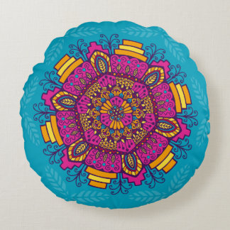 Bright Colours Mandala Round Pillow