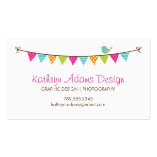 Bright Colours Patterned Bunting and Cute Bird Business Card