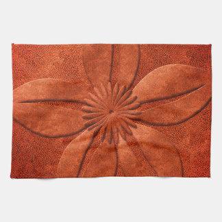 Bright Copper Look Textured Flower Tea Towel