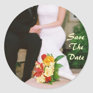 Bright Couple Yellow Roses Save The Date Sticker