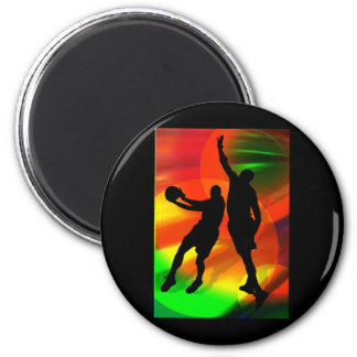 Bright Court Lights and Basketball Duo Fridge Magnet