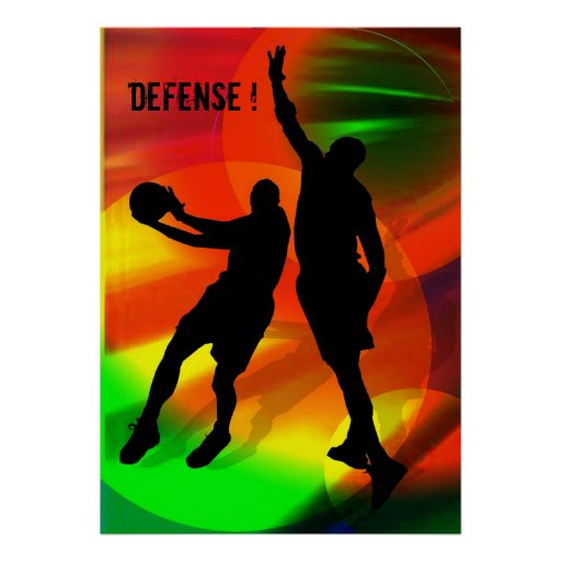 Bright Court Lights and Basketball Duo Poster