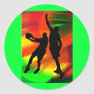 Bright Court Lights and Basketball Duo Stickers