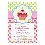 Bright Cupcake 1st Birthday Party Invitation