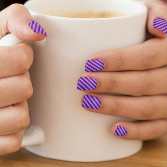 Bright Deep Purple and Diagonal Stripes Minx Nail Art