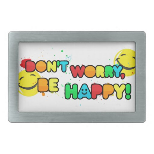 bright don't worry be happy smiley face design rectangular belt buckles