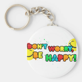 bright don't worry be happy smiley face design key ring