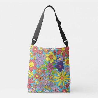Bright Doodle Flowers Over Shoulder Bag
