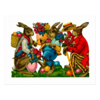 Bright Easter Bunnies Vintage Postcard